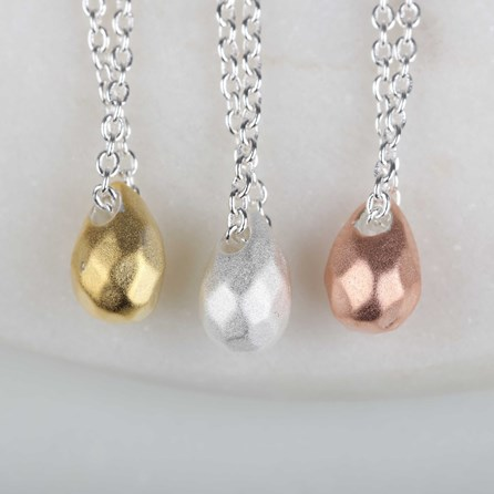 Solid Silver Hammered Teardrop Necklace