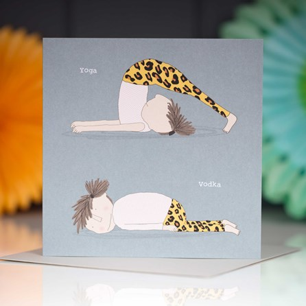 'Yoga Vodka' Greetings Card