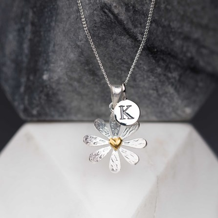 Personalised Heart Centred Daisy Pendant