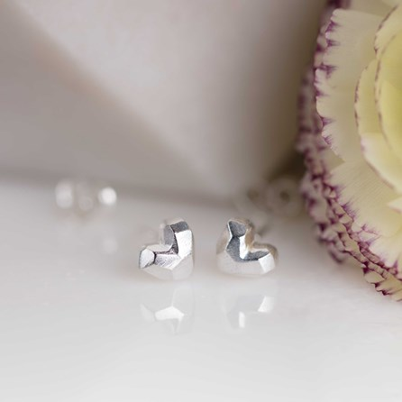 Solid Silver Faceted Heart Studs