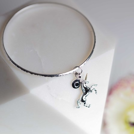 Personalised Solid Silver Unicorn Bangle