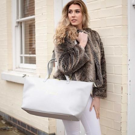 Katie Loxton Personalised 'Le Weekend' Bag In Pale Grey