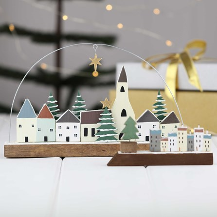 Christmas Star And Snowy Village Scene Decorations