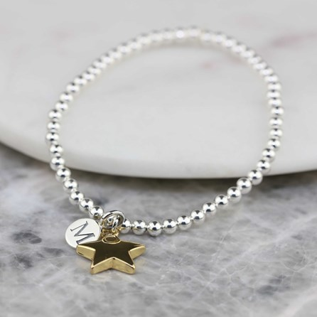 Personalised Skinny Missy Bracelet With Gold Star