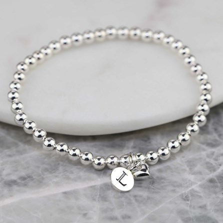 Personalised Solid Silver 'Mia' Heart Bracelet