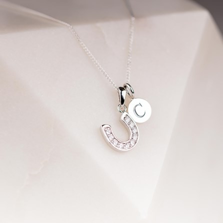 Personalised Sparkly Horseshoe Charm Pendant