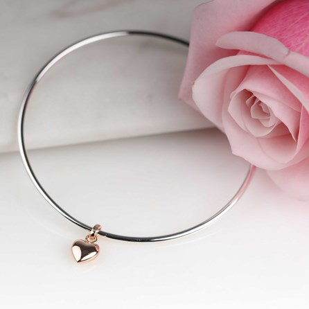 Solid Silver And Rose Gold Heart Bangle