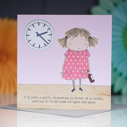 '...Time To Open The Wine' Greetings Card