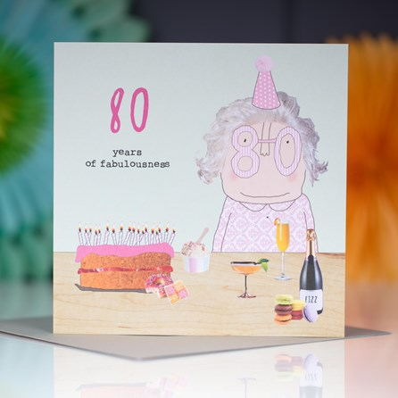 '80 Years Of Fabulous' Greetings Card