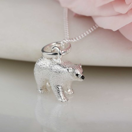 Solid Silver Polar Bear Necklace
