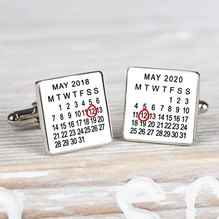 Personalised Special Dates Silver Cufflinks