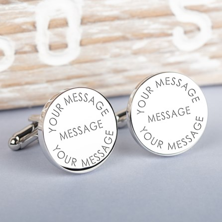 Personalised Any Message Silver Cufflinks