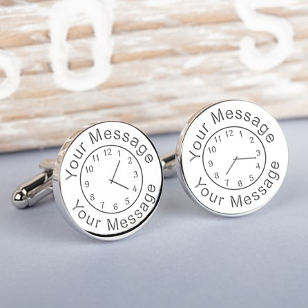 Personalised Any Message And Time Cufflinks