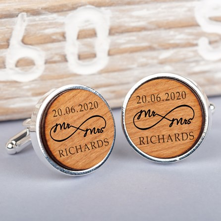 Personalised Silver And Cherry Wood Infinity Cufflinks