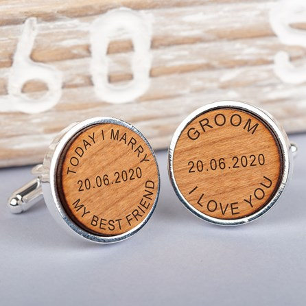 Personalised 'Today I Marry' Cherry Wood Cufflinks