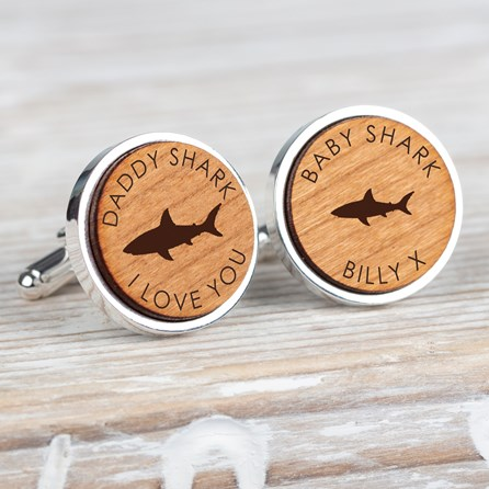 Personalised 'Daddy Shark/Baby Shark' Wooden Cufflinks