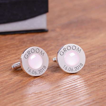 Personalised Wedding Role And Date Cufflinks