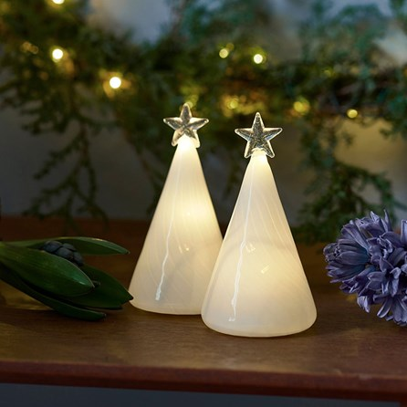 Frosted Glass Trees Set Of Two With LED Lights