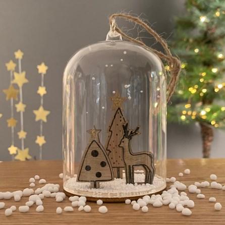 Christmas Deer And Trees Snow Globe