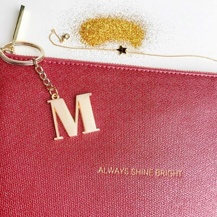 Katie Loxton Personalised 'Always Shine Bright' Burgundy Pouch
