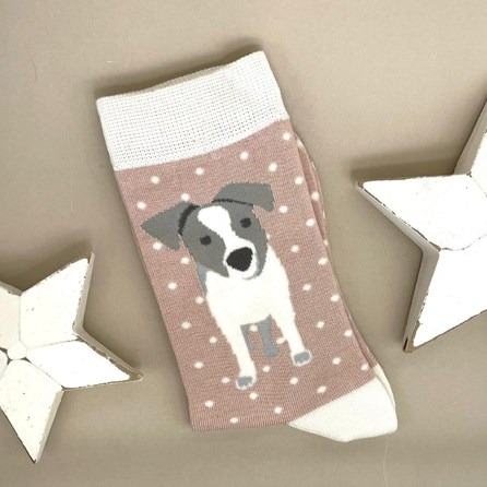 Bamboo Jack Russell Pup Socks In Dusky Pink