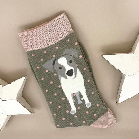 Bamboo Jack Russell Pup Socks In Olive