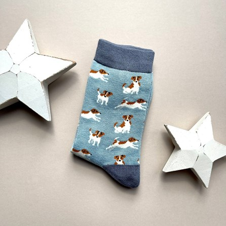 Bamboo Jack Russell Socks In Powder Blue