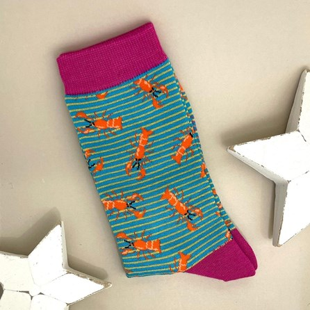 Bamboo Lobster Socks In Turquoise