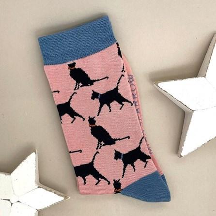 Bamboo Lucky Cat Socks In Dusky Pink