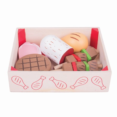 Wooden Butchers Play Food in Crate