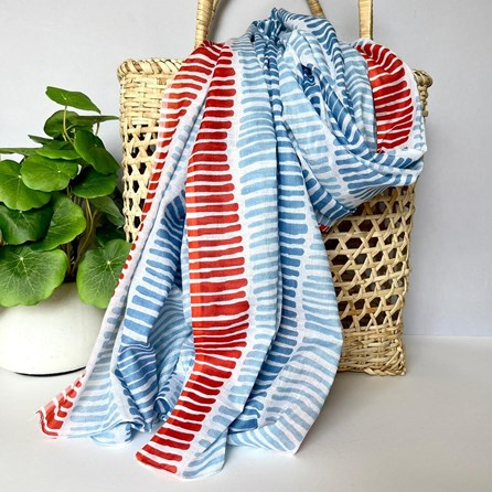 Blue and Red Scarf with Vertical Striped Print