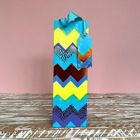 Blue Spots and Chevrons Bottle Gift Bag