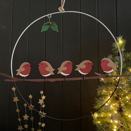 Five Robins On a Perch Wreath Hanging Decoration
