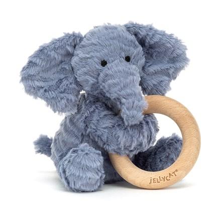 Jellycat Fuddlewuddle Elephant Wooden Ring Toy