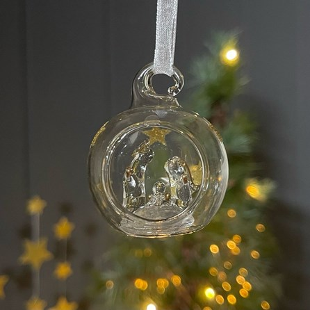Glass Bauble with Gold Stars and Nativity
