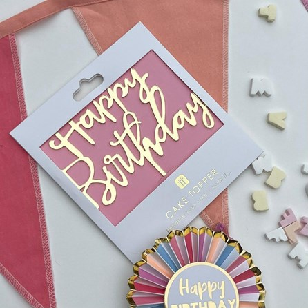 Rose Gold 'Happy Birthday' Cake Topper