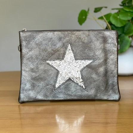 Gun Metal Clutch or Cross Body Bag with Silver Glitter Star