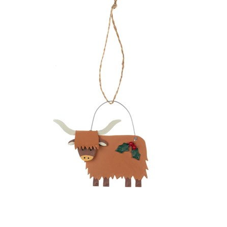 Highland Cow with Holly Hanging Decoration