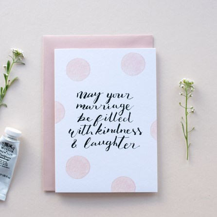 'May Your Marriage Be Filled With Kindness & Laughter' Card