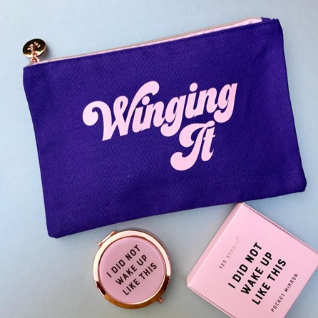 'Winging It' Violet Make Up Bag