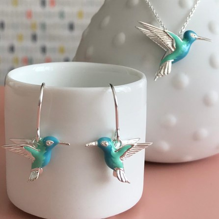 Solid Silver Handpainted Hummingbird Earrings