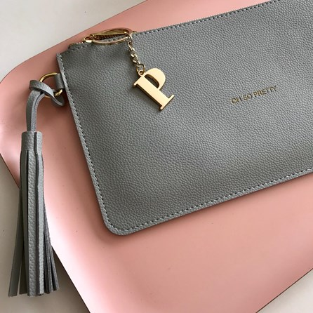 Katie Loxton Personalised 'Oh So Pretty' Pale Grey Tassel Bag