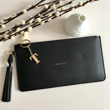 Katie Loxton Personalised 'Très Chic' Black Tassel Bag
