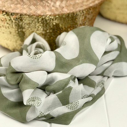 Olive Circular Patterned Scarf