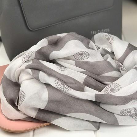 Grey Circular Patterned Scarf