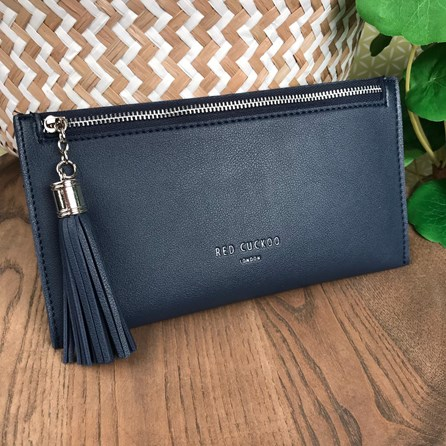 Coin Purse with Tassel Zip In Blue