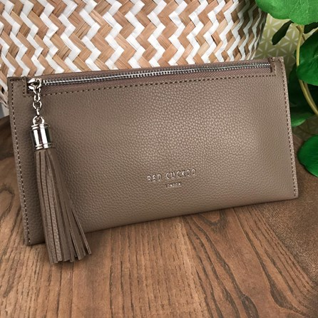 Coin Purse with Tassel Zip In Taupe