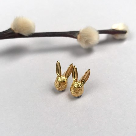 18ct Gold Hare Stud Earrings