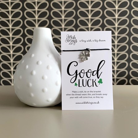 'Good Luck' Shamrock Charm Wish Bracelet