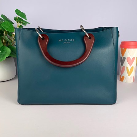 Tote Bag With Wooden Handle In Emerald Green